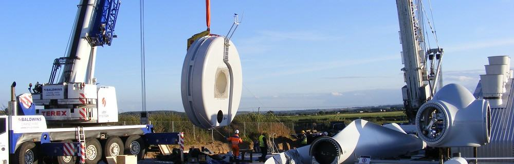 Wind turbine generator lifted into place