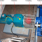 Figure 7 - Crossflow turbine with a gearbox drive system and flexible coupling, installed in Somerset