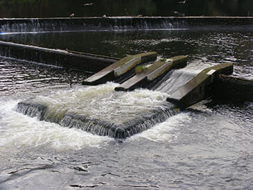 Existing but poorly designed pool and weir fish pass