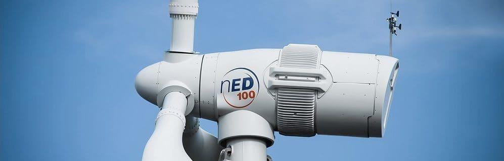 Norvento wind turbine, Maesmedrisiol, Wales Renewables First