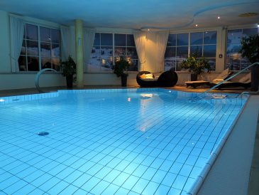Swimming pool heating is especially effective with a water-source heat pump