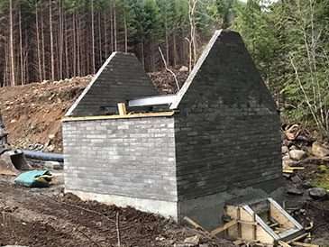 Constructing the turbine house at Allt na Fearna, Scotland