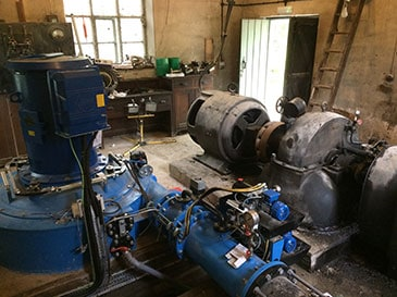 Hydro turbines old and new at Pale Hall