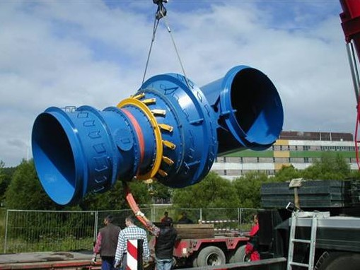Figure 7 - Ossberger horizontal-axis Kaplan turbine being lifted into position